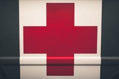 Chiuda su di una croce rossa su un'ambulanza d'annata dell'esercito fotografia stock
