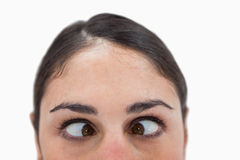 Chiuda in su di una donna cross-eyed Fotografia Stock