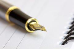 Chiuda su di una fontana Pen Nib dell'oro Fotografia Stock Libera da Diritti