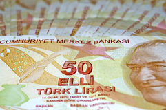 Chiuda in su di una Lira dei 50 turco Fotografie Stock Libere da Diritti