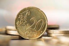 Chiuda su di una moneta da 20 centesimi Fotografie Stock