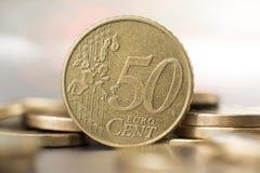 Chiuda su di una moneta da cinquanta centesimi Fotografie Stock