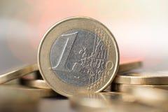 Chiuda su di una moneta da un euro Fotografia Stock Libera da Diritti
