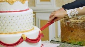 Chiuda su di una sposa e di uno sposo che tagliano la loro torta nunziale archivi video