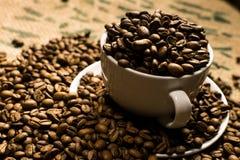 Chiuda su di una tazza di caffè macchiato in pieno dei chicchi di caffè Fotografia Stock