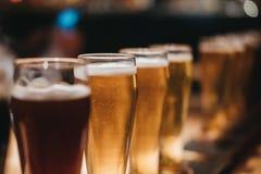 Chiuda su di uno scaffale dei generi differenti di birre, scuri per accendersi, su una tavola immagini stock