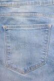 Chiuda su di vecchia tasca della parte dei jeans Fotografie Stock Libere da Diritti