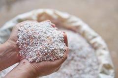 Chiuda su fertilizzante chimico in sacchi Fotografie Stock Libere da Diritti