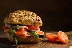Chiuda su Ham Salad Roll Fotografie Stock Libere da Diritti