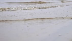Chiuda su per le onde del fiume su una riva sabbiosa Metraggio di riserva Piccole onde che lavano su una riva del fiume con la sa video d archivio