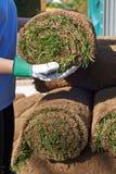 Chiuda su prato inglese di Laying Turf For del giardiniere di paesaggio di nuovo immagini stock