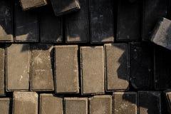 Chiuda su struttura di un insieme dei mattoni grigi della costruzione Fotografia Stock Libera da Diritti