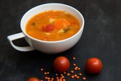 Chiuda su su minestra con il pomodoro, la lenticchia e la patata, backgr rustical fotografia stock libera da diritti
