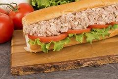 Chiuda su sul panino sottomarino del tonno immagini stock