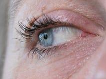 Chiuda su sull'occhio azzurro di una donna Immagine Stock