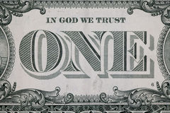 Chiuda su sull'un inverso del dollaro Fotografia Stock Libera da Diritti