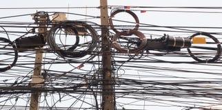 Chiuda su sulla colonna dell'elettricità Immagine Stock Libera da Diritti
