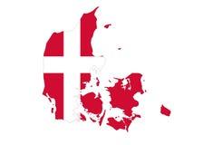 Chiuda su sulla mappa della Danimarca su fondo bianco, nessun ombre Fotografia Stock Libera da Diritti