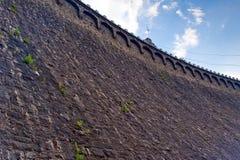 Chiuda su sulla parete di pietra della diga in Pilchowice Fotografia Stock