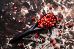 Chiuda sui granelli di pepe rosa organici o sulla bacca rosa in ceramico nero Immagini Stock