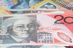 Chiuda sui macro soldi delle note dell'australiano Fotografie Stock Libere da Diritti