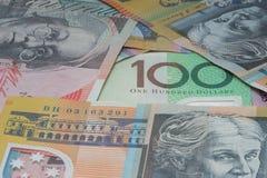 Chiuda sui macro soldi delle note dell'australiano Fotografia Stock