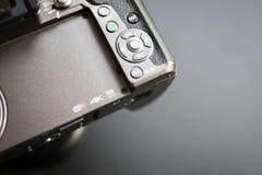 Chiuda sui microfourthirds di logo, 4k, wifi sulla macchina fotografica Fotografie Stock
