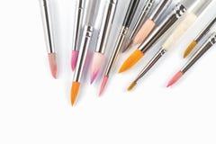 Chiuda sui pennelli variopinti Fotografie Stock Libere da Diritti