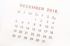 Chiuda sul calendario del dicembre 2016 Immagine Stock Libera da Diritti