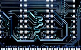 Chiuda sul circuito elettronico della linea blu del computer Fotografia Stock Libera da Diritti