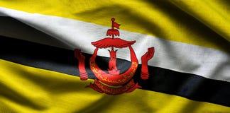 Chiuda sul colpo della bandiera ondulata del Brunei Fotografia Stock Libera da Diritti