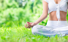 Chiuda sul colpo di gesturing femminile di zen della mano Immagini Stock