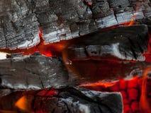 Chiuda sul colpo di legna da ardere bruciante Fotografie Stock