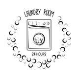 Chiuda sul colpo Stanza di lavanderia ed etichetta e distintivo di lavaggio a secco Isolato su bianco Immagine Stock Libera da Diritti