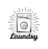 Chiuda sul colpo Stanza di lavanderia ed etichetta e distintivo di lavaggio a secco Su bianco Fotografia Stock