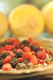 Chiuda sul dettaglio del vassoio del metallo di frutta, di mora e di lampone fotografie stock libere da diritti