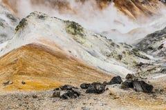 Chiuda sul dettaglio della valle dell'inferno di Noboribetsu Jigokudani: La valle del vulcano ha ottenuto il suo nome dall'odore  fotografia stock libera da diritti