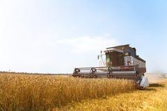 Chiuda sul lavoro di una mietitrebbiatrice su un giacimento di grano un giorno soleggiato Fotografia Stock
