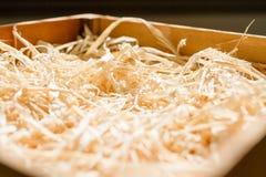 Chiuda sul nido del pollo da paglia immagine stock