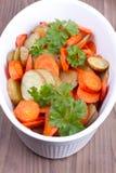 Chiuda sul piatto con le patate al forno Immagine Stock Libera da Diritti
