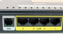 Chiuda sul porto del supporto del commutatore di rete per collegano la rete Immagine Stock Libera da Diritti