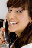 Chiuda sul punto di vista della donna di affari sorridente Fotografia Stock