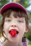 Chiuda sul ritratto dell'estate della ragazza sveglia in cappuccio rosa che mangia una fragola Fotografie Stock Libere da Diritti