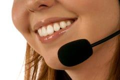 Chiuda sul ritratto dell'operatore della call center Immagini Stock Libere da Diritti