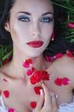 Chiuda sul ritratto della donna castana che si trova sull'erba con le labbra rosse e sparsa con i petali rosa Bellezza, concetto  immagine stock