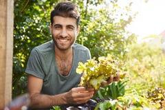 Chiuda sul ritratto di bello agricoltore caucasico barbuto dalla carnagione scura che sorride, lavorante nel giardino, raccoglie  Fotografia Stock