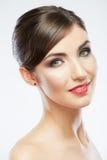 Chiuda sul ritratto di bello fronte della giovane donna Immagini Stock