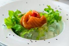 Chiuda sul salmone del sashimi con le verdure immagine stock libera da diritti