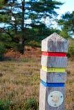 Chiuda sul sentiero per pedoni firmano dentro la foresta immagini stock