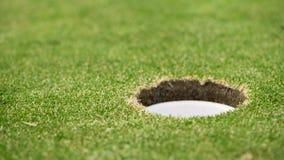 Chiuda sul video di una palla da golf quando sta rotolando nel foro stock footage